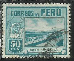 PERU´ 1938 Worker's Houses LIMA Case Dei Lavoratori CENT. 50 50c USATO USED OBLITERE´ - Peru