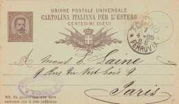 ITALIEN 1885 - ? Ganzsache Auf Pk Gel.v.Torino Nach Paris, Karte Mit Stecknadelloch - 1878-00 Humbert I.