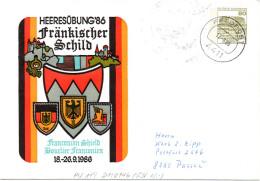 """BRD Privatganzsachenumschlag Bundeswehr """"HEERESÜBUNG ´86 Fränkisches Schild"""", FELDPOST 4411, 17.9.86 - Buste Private - Usati"""