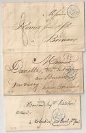 3 LETTRES PARIS. DATEURS BLEUS. 1833. POUR ETUDE. - Storia Postale
