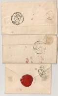 3 LETTRES PARIS. TAXE 15 ROUGE.. POUR ETUDE. Dont 2 CACHETS E Rouge Au Verso. - Storia Postale