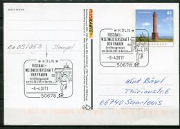 """Germany 2011 Pluskarte Mi.Nr.PSo???""""Leuchtturm Norderney"""" M.SST""""Köln-Fußball WM Der Frauen,Eröffnung""""1Pluskarte, Used, - BRD"""