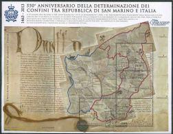 2013 San Marino, Anniversario Determinazione Confini, Congiunta Con L'Italia, Serie Completa Usata Annullo Primo Giorno - Blocks & Sheetlets