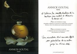 Carte Parfumées  CARTE  SONGES De  Annick Goutal Carte  Lancement  21 Cm X 15 Cm Recto Verso - Modern (from 1961)