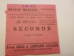 Limoges , Théâtre Municipal ,8 Nov 1927,billet Entrée, N° 01121 - Tickets - Vouchers