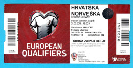 CROATIIA - NORWAY - 2015. UEFA EURO Qualif. Football Match Ticket Soccer Billet Foot Futbol Fussball Calcio - Eintrittskarten