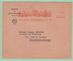 Fr9. EMA   C 3149  15f  Mairie + Police Du Bâtiment.  Strasbourg Ville D´arts Cathédrale + Ponts + Rhin  17.12.53 - Storia Postale