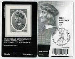 TESSERA  FILATELICA 2015     ALDO  MANUZIO        (BARRE 7466) - Cartes Philatéliques