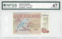 SURINAME 2.5 GULDEN 1985 P-119a NPGS S GEM UNC 67 EPQ S/N H/4 096763 [ SR119aNPGS ] - Surinam