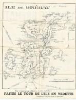 Carte Plan De L'île De Bréhat 6,6 Cm Pour 1 Km Vedettes De Bréhat 27,8 Cm X 22,2 Cm 2 Scans - Dépliants Touristiques
