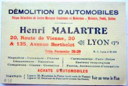 69 AUTOMOBILE HENRI MALARTRE DEMOLITION D'AUTOMOBILES FERAILLEURS  MUSEE DE L'AUTOMOBILE ROCHETAILLEE - Visiting Cards