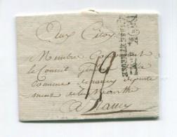 !!! MARQUE D'ARMEE DIVISION K ARMEE DE SAMBRE ET MEUSE AVEC TEXTE PARTIEL DE NEUSSE DU 14 MESSIDOR AN 3 - Marcophilie (Lettres)