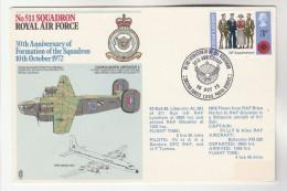 1972 Special RAF FLIGHT COVER GB -  GIBRALTAR  ANNIV WWII WINSTON CHURCHILL FLIGHT 511 Sqn LIBERATOR AIRCRAFT