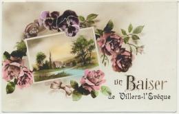 """Villers-l' Evêque Belgique : Carte Fantaisie """" Un Baiser De Villers-l' Evêque """" à Décors Paysage Et Fleurs - Awans"""