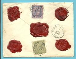 47+48 Op Brief ASSURE (verzekerd) (750Fr) Met Stempel QUIEVRAIN - 1884-1891 Leopold II