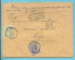 47+48 Op Brief ASSURE (verzekerd) (297,28Fr) Met Stempel CINEY - 1884-1891 Léopold II