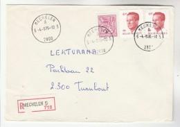 1985 REGISTERED  Mechelen BELGIUM Stamps COVER - Belgium