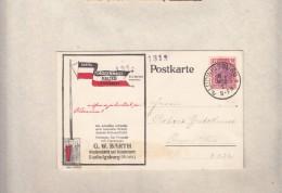 Gremany : 1922 Card : G.W. BARTH FLAGGENMAST, HALTER, 1 1/4M Used PLUDWIGSBERG - Germany