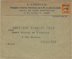 1922- Enveloppe Ouverte à En-tête L'ABEILLE  ( Cie D'assurances ) Affr. - Marcophilie (Lettres)
