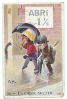 CPA ILLUSTRATION, ILLUSTRATEUR RIGHT, ENFANTS SOUS LA PLUIE, ONLY 1 1/2 UNDER SHELTER - Right