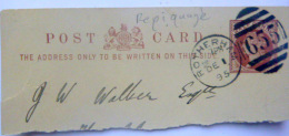 REPIQUAGE  CACHET SUR PARCELLE DE  CARTE POSTALE  TIMBRE AVEC CACHET DE REPIQUAGE  655  ROTHERDAM  1895 - Grande-Bretagne