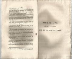 Questions Importantes Sur Les Prohibitionsdes TISSUS ETRANGERS , XIX éme Siécle , 12 Pages - Historical Documents