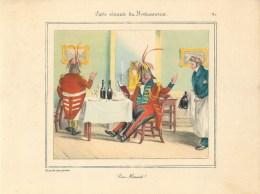 """PLANCHE D´APRES GRANVILLE - TIRAGE DES ANNEES 40- """"DEUX HOMARDS"""" (20 X 27 Cm)- BELLE PIECE à ENCADRER - Non Classés"""