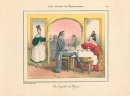 """PLANCHE D´APRES GRANVILLE - TIRAGE DES ANNEES 40- """"UNE ANGUILLE & DES ROGNONS"""" (20 X 27 Cm)- BELLE PIECE à ENCADRER - Non Classés"""