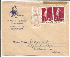 BELGIQUE LETTRE DE BRUXELLES POUR LA FRANCE 1964 - Marcophilie