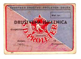 SPORTSKO DRUSTVO PROLETER OSIJEK FOOTBALL ISKAZNICA, ID CARD 1947 - Deportes