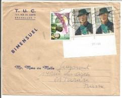 BELGIQUE LETTRE DE BRUXELLES POUR LA FRANCE 1966 - Marcophilie