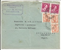 BELGIQUE LETTRE DE BRUXELLES POUR LA FRANCE 1946 - Marcophilie