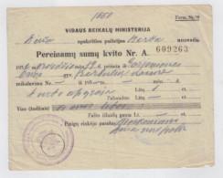 Lithuania Litauen Ministry Of Internal Affairs Birzu Police Station 1933 Receipt - Police & Gendarmerie