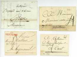 Lot De 4 Marques Postales 1786/1818 DIE DIEULEFIT VERNEUIL Drome Ancien Departement 25 - 1701-1800: Precursori XVIII