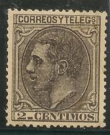 Edifil 200* Mh  2 Céntimos Negro Grisaceo  1879  Alfonso XII       NL306 - Ongebruikt