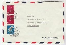 1968 Air Mail NIHONBASHI JAPAN Stamps COVER Nihon Yakin Kagaku Kogyo Co To Germany - 1926-89 Emperor Hirohito (Showa Era)