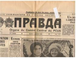 JOURNAL LA PRAVDA - JANVIER 1986 -    Journal Fondé Le 5 Mai 1912 Par LENINE , Organe Du  PCUS , Déchirure Haut Gauche - Books, Magazines, Comics