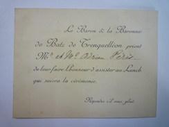 "GERS  :  Carton D'invitation  "" Le BARON & La BARONNE  De BATZ De TRENQUELLEON..."" - Faire-part"