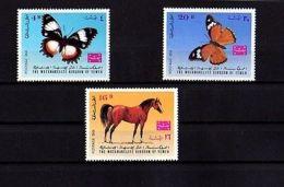 YEMEN - KINGDOM - 1967 - HORSE - BUTTERFLIES - POSTAGE DUE - 3 X MINT - MNH SET! - Insectes
