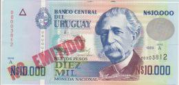 Uruguay 10000 Pesos 1989 Pick 68B UNC Red - Uruguay