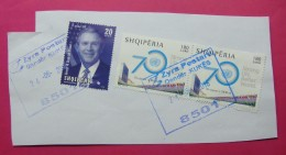 2016 ALBANIA STAMPS USED 70 YEARS UN, GEORGE BUSH Postmark KUKES. - Albania