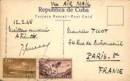 CUBA - Oblitération De La Havane Sur Carte Postale En 1948 Pour Paris , Affranchissement Plaisant - A Voir - L  3553 - Cuba