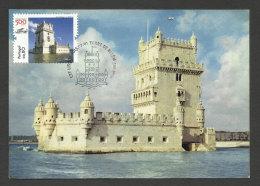 Portugal Tour De Belém 500 Ans Site UNESCO Carte Maximum Carte Postale Vintage 2015 Belem Tower 500 Years  Maxicard - Monuments