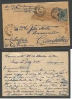 Brazil -Stationary. 1902 (25 Sept) Sacramento - Campinas (27 Sept) Via Rio De Janeiro. 50 Rs Blue Stationary Card. Fi... - Brésil