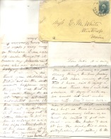 PANAMA 1 OF APRIL 1866 TO WINTHROP MAINE, NEW YORK STEAMSHIP TRANSIT. LETTE FROM E.H. WILLIAMS PANAMA BRICK MANUFACTURIN - Panama