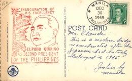 PHILIPPINES - Oblitération De Manille En 1949 Sur CP, Cachet Inaugural Du Président Quirino  - A Voir - L  3564 - Philippines