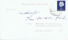 NL+ Niederlande 1953 Mi 623 Juliane - Kriegsgefangenenpost F. A. D. Fünten - Covers & Documents