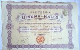 ACTION COMPAGNIE DES CINEMA HALLS  -  1907 TITRE 5842 - Cinéma & Théatre