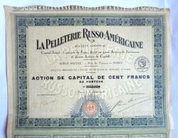 ACTION LA PELLETERIE RUSSO AMERICAINE  -  1926 TITRE 033270 - Textile