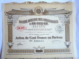 ACTION SOCIETE AGRICOLE DES CAOUTCHOUCS D'AN PHU HA  -  1927 TITRE 020641 Pneus Roues - Automobile